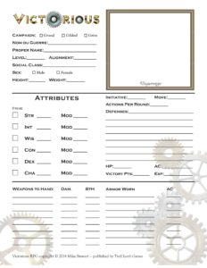 Victorious character sheet front