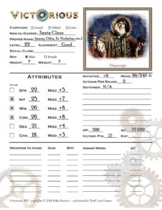 character sheet for Santa/Odin