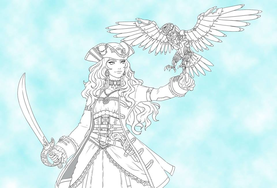 A line drawing of a female steampunk pirate with a cutlass in one hand and a metal hawk alighting on her opposite wrist
