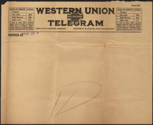 A blank Western Union telegram from the early 1900s