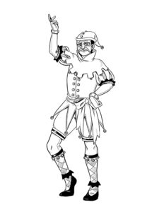 a full body drawing of the villain Tragedy, wearing a stylized jester outfit and posing dramatically