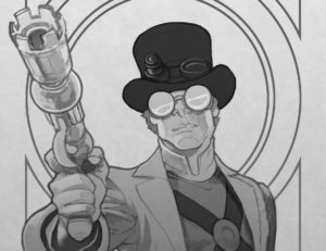 A man wearing a top hat and goggles points a fantastic-looking weapon at the viewer
