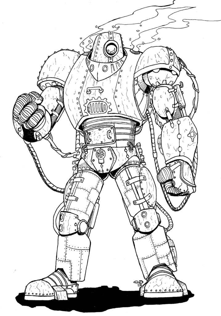 a large armored figure made of riveted plates, pistons, and a circular turret-like head with a single viewing porthole in the center of it.